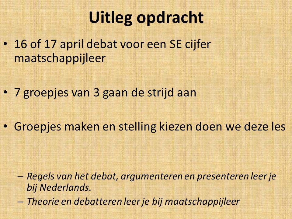 Uitleg opdracht 16 of 17 april debat voor een SE cijfer maatschappijleer 7 groepjes van 3 gaan de strijd aan Groepjes maken en stelling kiezen doen we