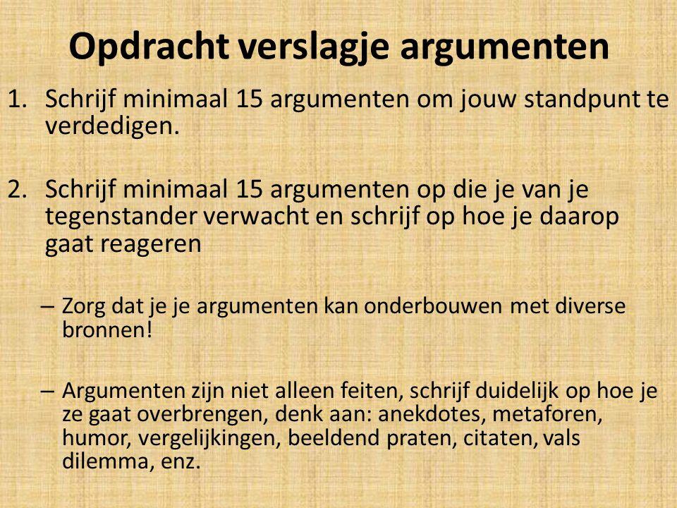 Opdracht verslagje argumenten 1.Schrijf minimaal 15 argumenten om jouw standpunt te verdedigen. 2.Schrijf minimaal 15 argumenten op die je van je tege