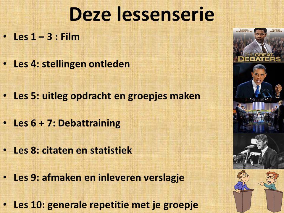 Deze lessenserie Les 1 – 3 : Film Les 4: stellingen ontleden Les 5: uitleg opdracht en groepjes maken Les 6 + 7: Debattraining Les 8: citaten en stati