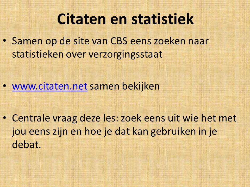 Citaten en statistiek Samen op de site van CBS eens zoeken naar statistieken over verzorgingsstaat www.citaten.net samen bekijken www.citaten.net Cent