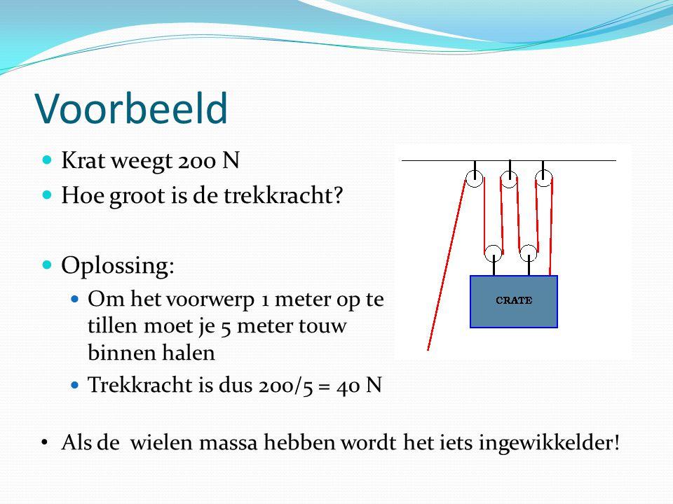 Voorbeeld Krat weegt 200 N Hoe groot is de trekkracht? Oplossing: Om het voorwerp 1 meter op te tillen moet je 5 meter touw binnen halen Trekkracht is