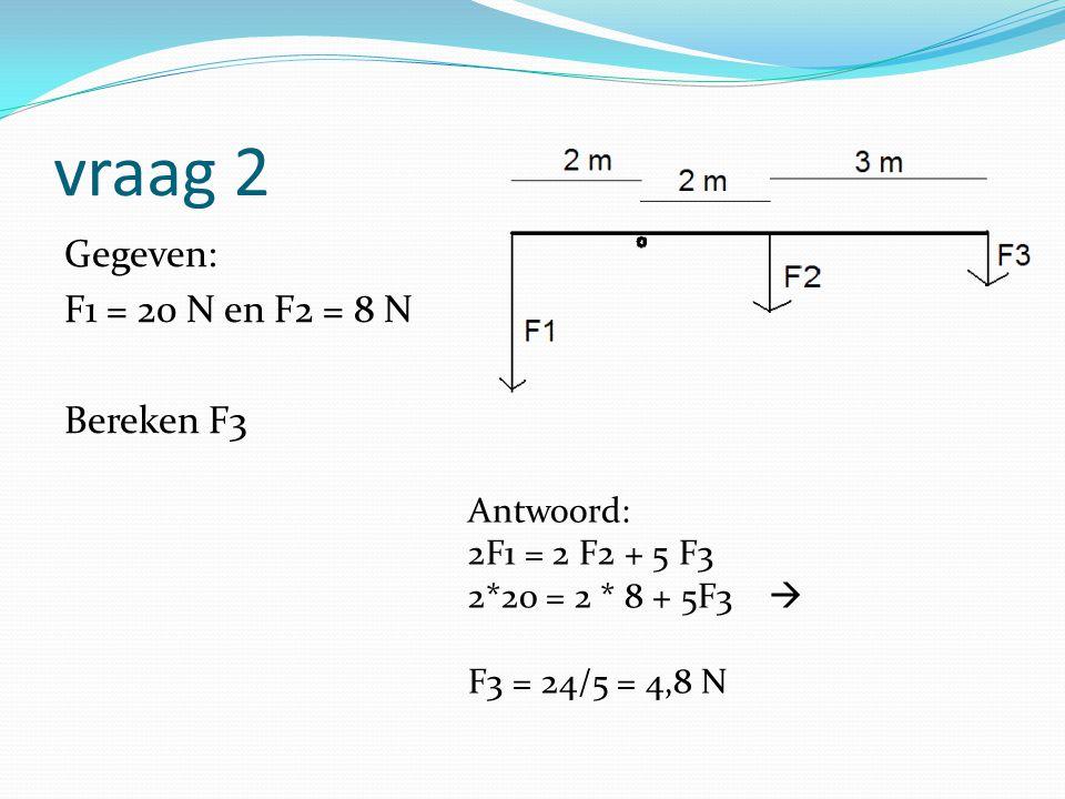 vraag 2 Gegeven: F1 = 20 N en F2 = 8 N Bereken F3 Antwoord: 2F1 = 2 F2 + 5 F3 2*20 = 2 * 8 + 5F3  F3 = 24/5 = 4,8 N