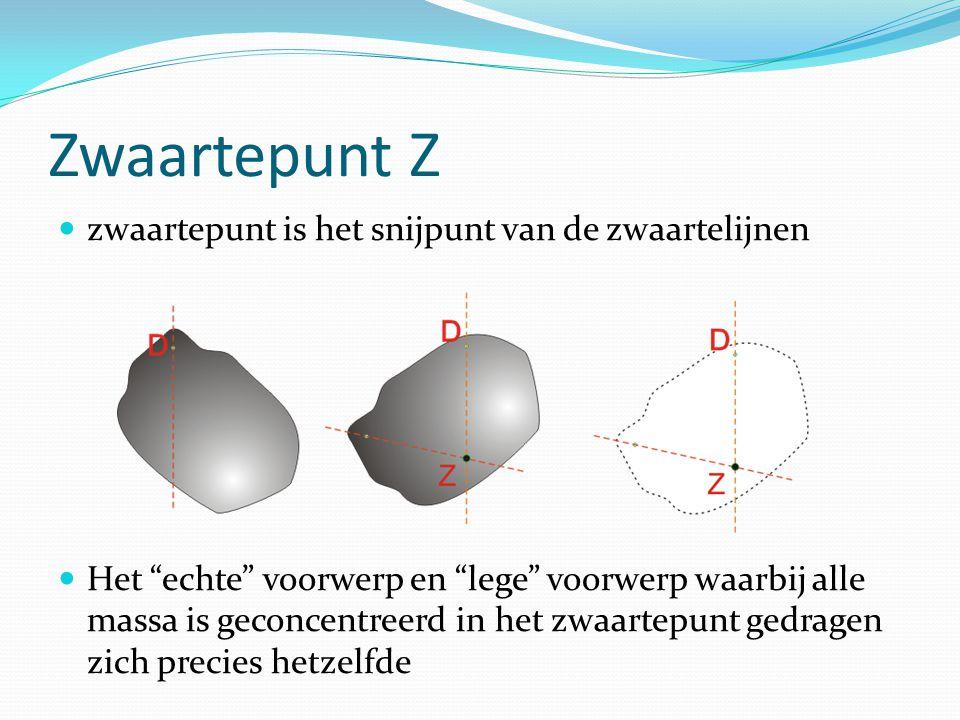 """Zwaartepunt Z zwaartepunt is het snijpunt van de zwaartelijnen Het """"echte"""" voorwerp en """"lege"""" voorwerp waarbij alle massa is geconcentreerd in het zwa"""