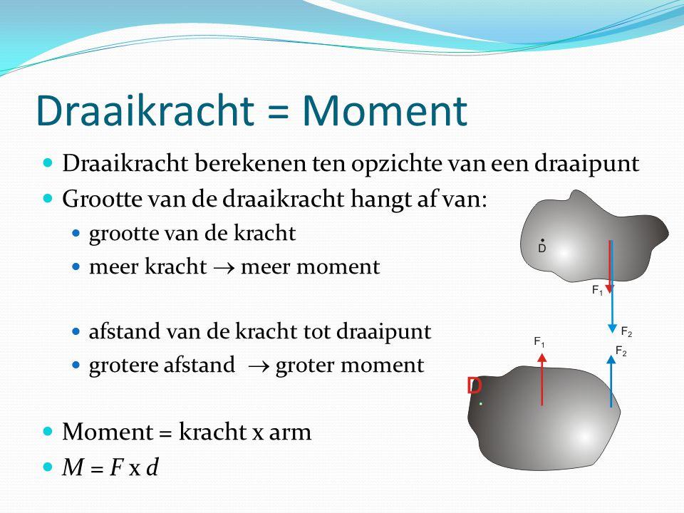 Draaikracht = Moment Draaikracht berekenen ten opzichte van een draaipunt Grootte van de draaikracht hangt af van: grootte van de kracht meer kracht 