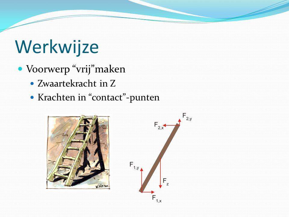 """Werkwijze Voorwerp """"vrij""""maken Zwaartekracht in Z Krachten in """"contact""""-punten"""