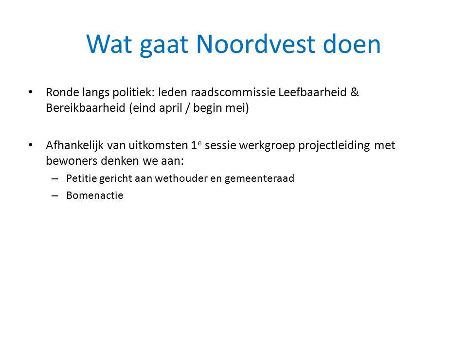 Wat gaat Noordvest doen Ronde langs politiek: leden raadscommissie Leefbaarheid & Bereikbaarheid (eind april / begin mei) Afhankelijk van uitkomsten 1
