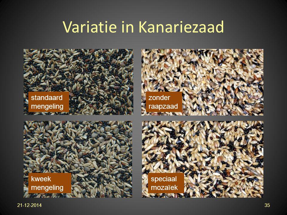 Variatie in Kanariezaad 21-12-201435 standaard mengeling zonder raapzaad speciaal mozaïek kweek mengeling