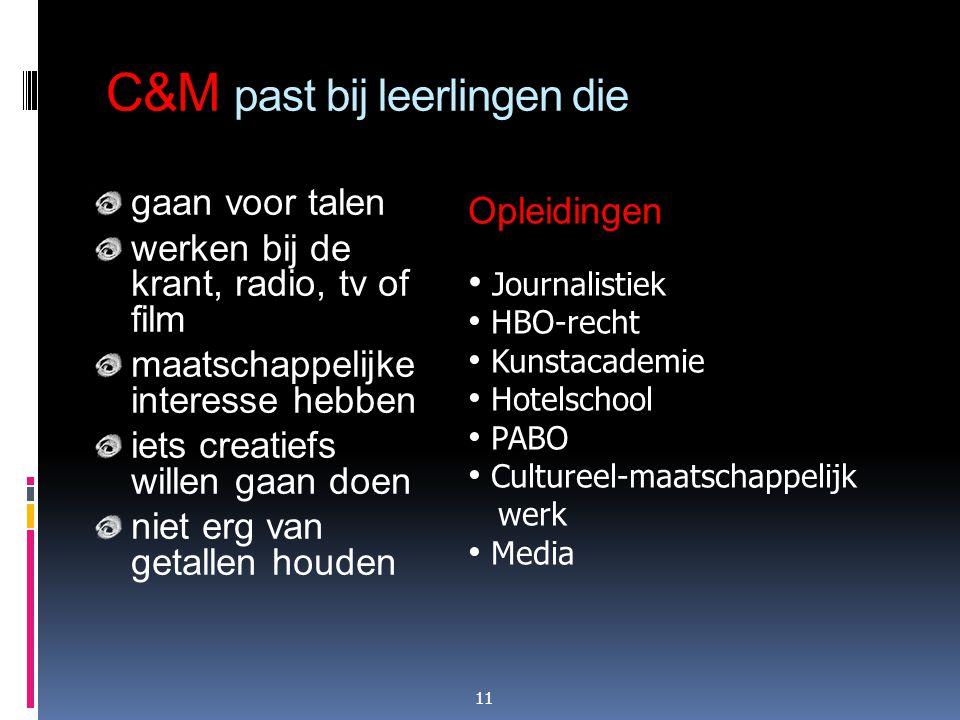 C&M past bij leerlingen die gaan voor talen werken bij de krant, radio, tv of film maatschappelijke interesse hebben iets creatiefs willen gaan doen n