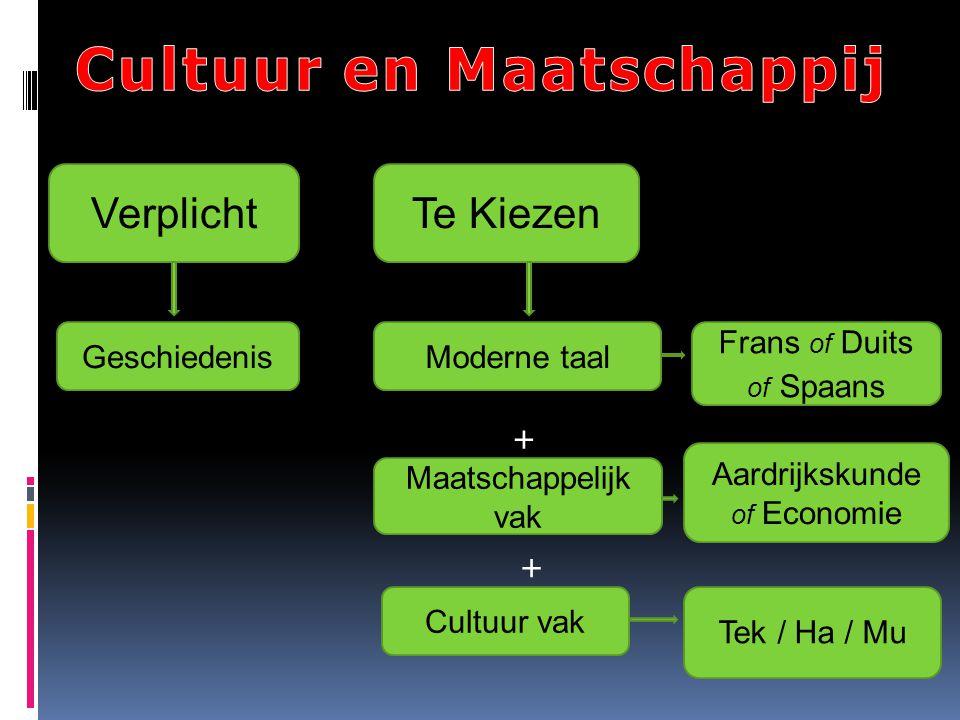 Moderne taal Verplicht Geschiedenis Te Kiezen Maatschappelijk vak Frans of Duits of Spaans Aardrijkskunde of Economie Cultuur vak Tek / Ha / Mu + +