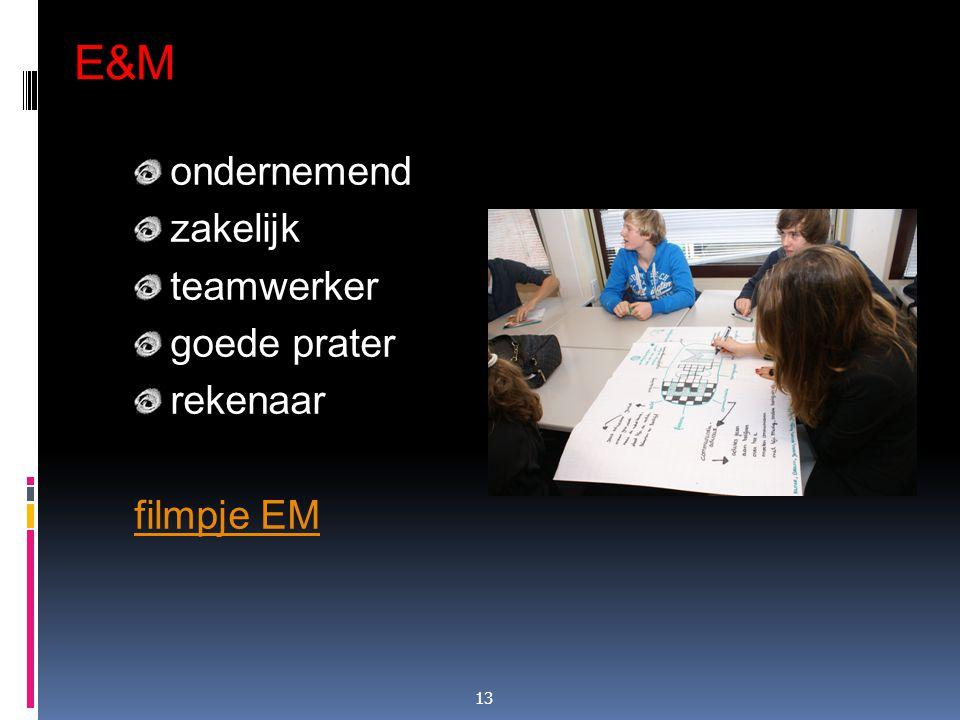 E&M ondernemend zakelijk teamwerker goede prater rekenaar filmpje EM 13