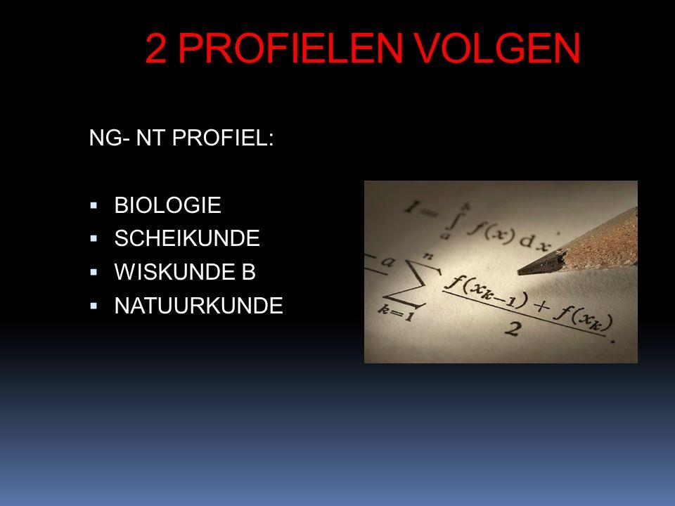 2 PROFIELEN VOLGEN NG- NT PROFIEL:  BIOLOGIE  SCHEIKUNDE  WISKUNDE B  NATUURKUNDE