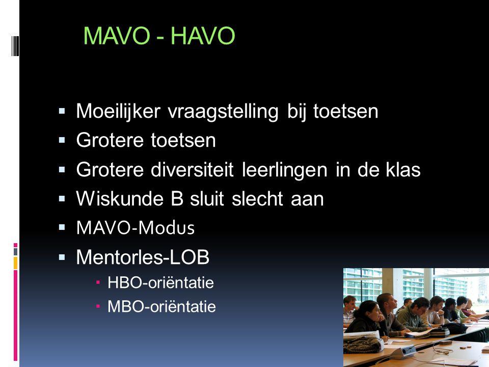 MAVO - HAVO  Moeilijker vraagstelling bij toetsen  Grotere toetsen  Grotere diversiteit leerlingen in de klas  Wiskunde B sluit slecht aan  MAVO-