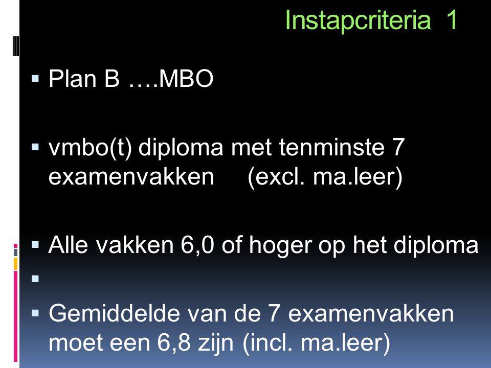 Instapcriteria 1  Plan B ….MBO  vmbo(t) diploma met tenminste 7 examenvakken (excl. ma.leer)  Alle vakken 6,0 of hoger op het diploma   Gemiddeld