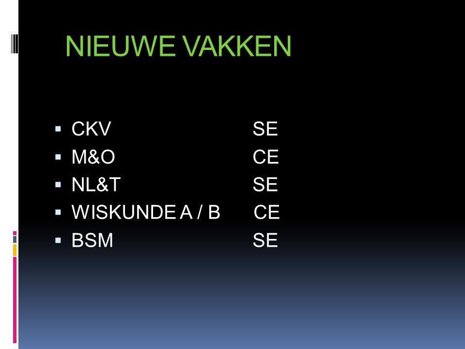 NIEUWE VAKKEN  CKV SE  M&O CE  NL&T SE  WISKUNDE A / B CE  BSM SE
