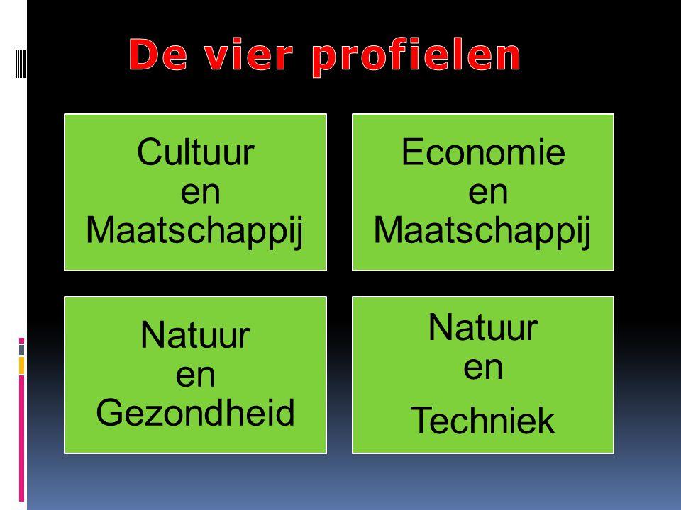 Cultuur en Maatschappij Economie en Maatschappij Natuur en Gezondheid Natuur en Techniek