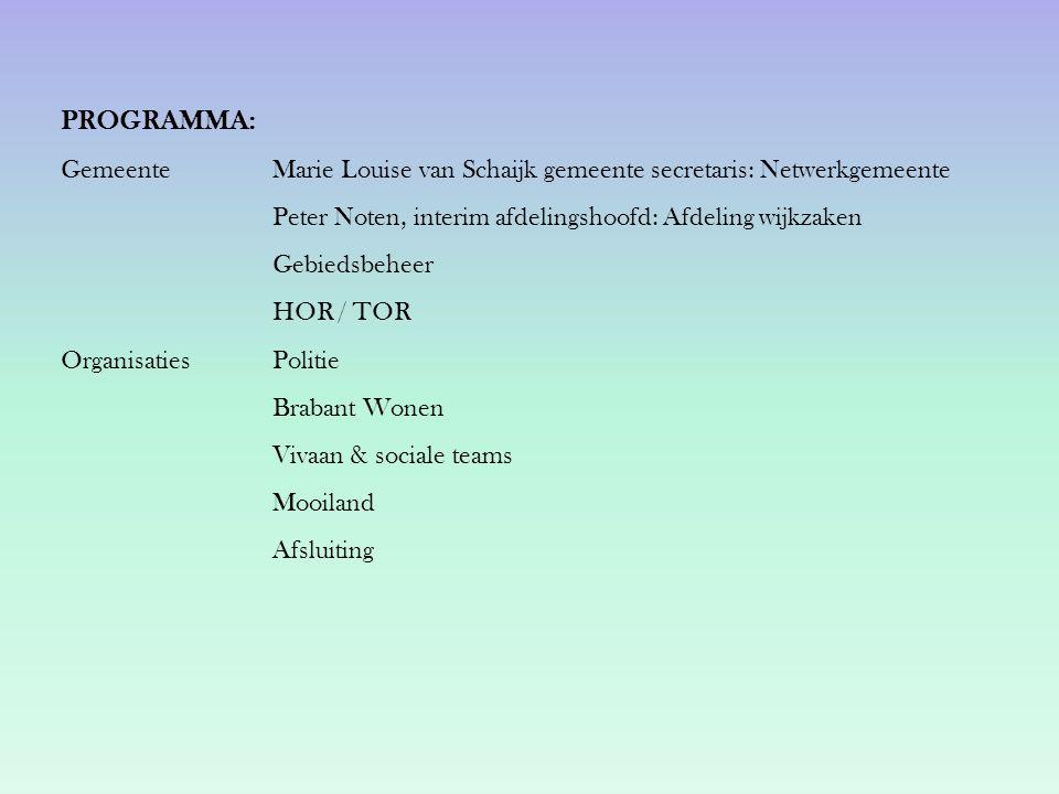 PROGRAMMA: Gemeente Marie Louise van Schaijk gemeente secretaris: Netwerkgemeente Peter Noten, interim afdelingshoofd: Afdeling wijkzaken Gebiedsbehee