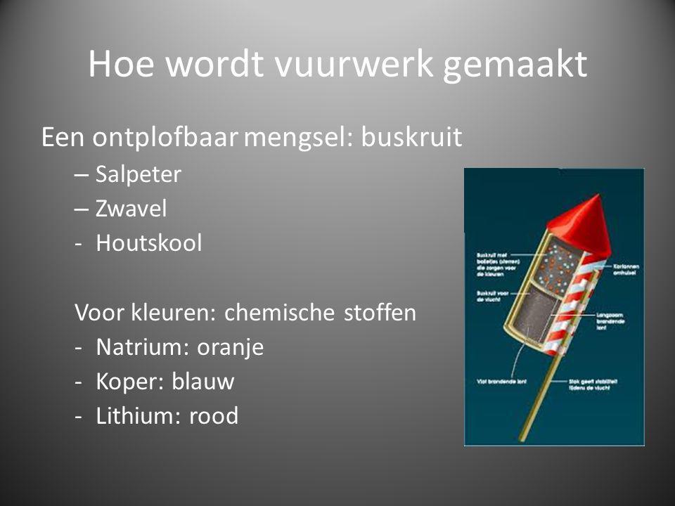 Hoe wordt vuurwerk gemaakt Een ontplofbaar mengsel: buskruit – Salpeter – Zwavel -Houtskool Voor kleuren: chemische stoffen -Natrium: oranje -Koper: blauw -Lithium: rood