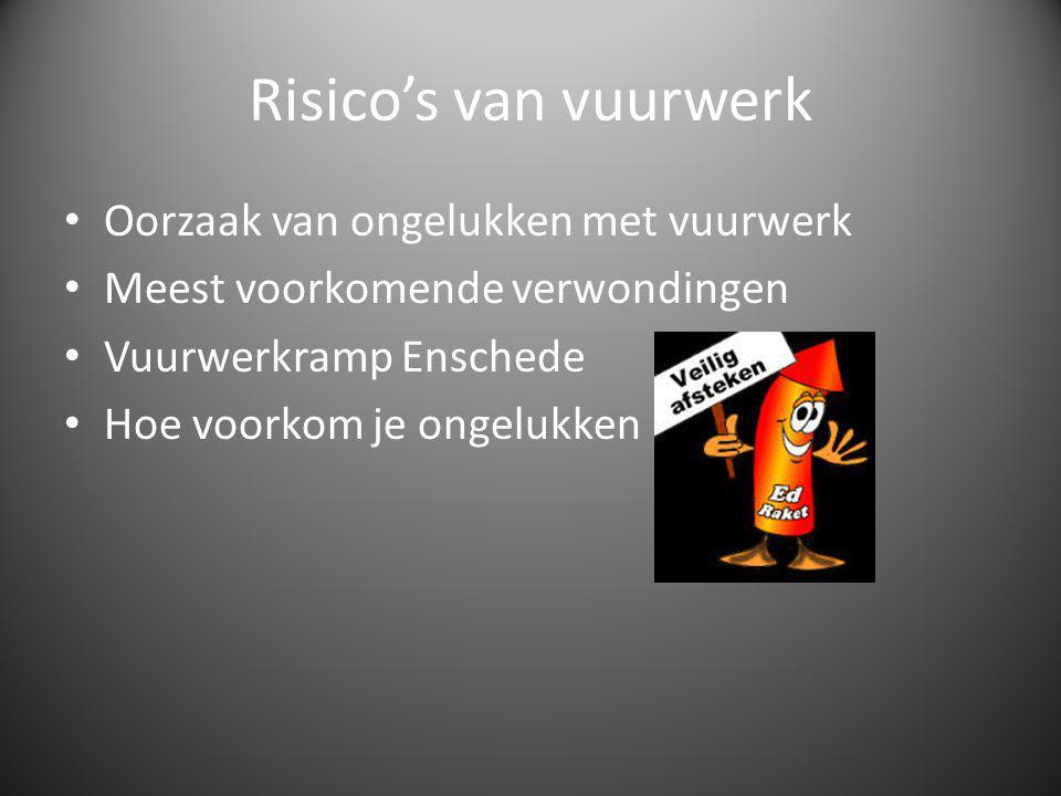 Risico's van vuurwerk Oorzaak van ongelukken met vuurwerk Meest voorkomende verwondingen Vuurwerkramp Enschede Hoe voorkom je ongelukken