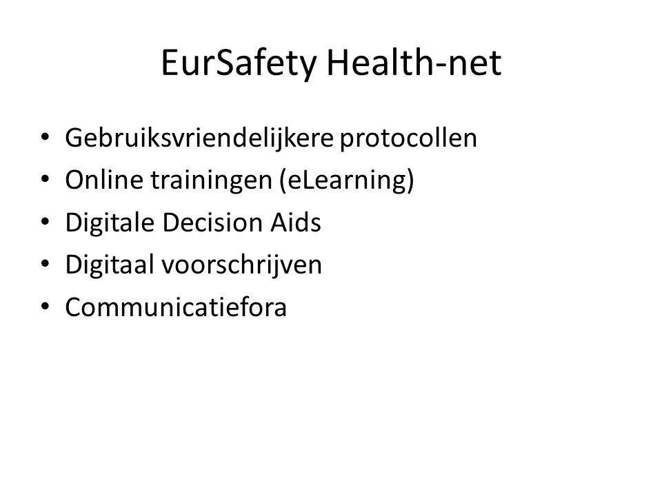 EurSafety Health-net Gebruiksvriendelijkere protocollen Online trainingen (eLearning) Digitale Decision Aids Digitaal voorschrijven Communicatiefora