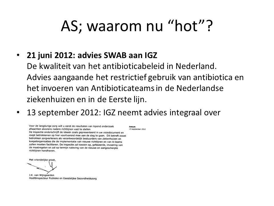 "AS; waarom nu ""hot""? 21 juni 2012: advies SWAB aan IGZ De kwaliteit van het antibioticabeleid in Nederland. Advies aangaande het restrictief gebruik v"