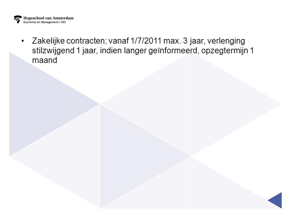Zakelijke contracten; vanaf 1/7/2011 max. 3 jaar, verlenging stilzwijgend 1 jaar, indien langer geïnformeerd, opzegtermijn 1 maand