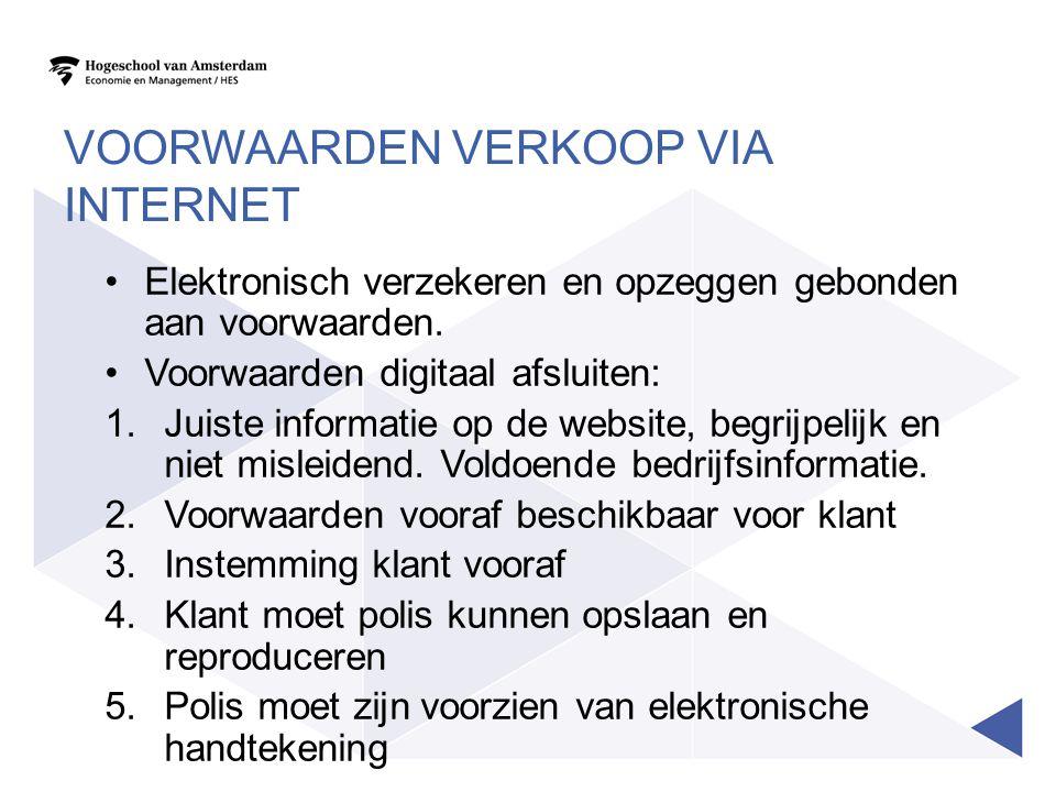 VOORWAARDEN VERKOOP VIA INTERNET Elektronisch verzekeren en opzeggen gebonden aan voorwaarden. Voorwaarden digitaal afsluiten: 1.Juiste informatie op