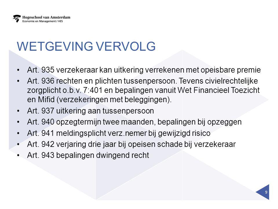 WETGEVING VERVOLG Art. 935 verzekeraar kan uitkering verrekenen met opeisbare premie Art. 936 rechten en plichten tussenpersoon. Tevens civielrechteli