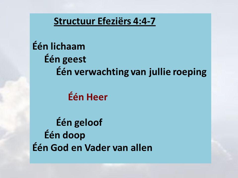 Structuur Efeziërs 4:4-7 Één lichaam Één geest Één verwachting van jullie roeping Één Heer Één geloof Één doop Één God en Vader van allen