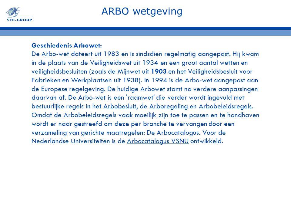 ARBO wetgeving Geschiedenis Arbowet: De Arbo-wet dateert uit 1983 en is sindsdien regelmatig aangepast. Hij kwam in de plaats van de Veiligheidswet ui