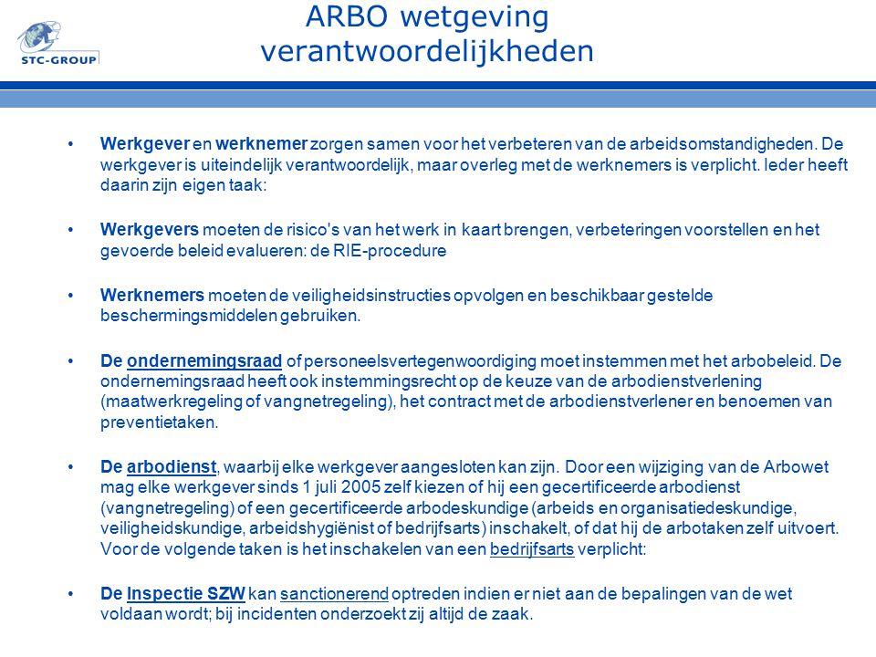 ARBO wetgeving verantwoordelijkheden Werkgever en werknemer zorgen samen voor het verbeteren van de arbeidsomstandigheden. De werkgever is uiteindelij