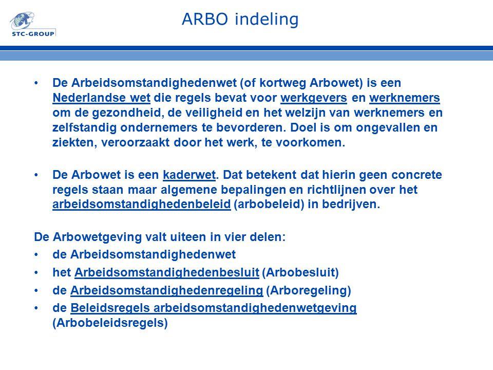 ARBO indeling De Arbeidsomstandighedenwet (of kortweg Arbowet) is een Nederlandse wet die regels bevat voor werkgevers en werknemers om de gezondheid,