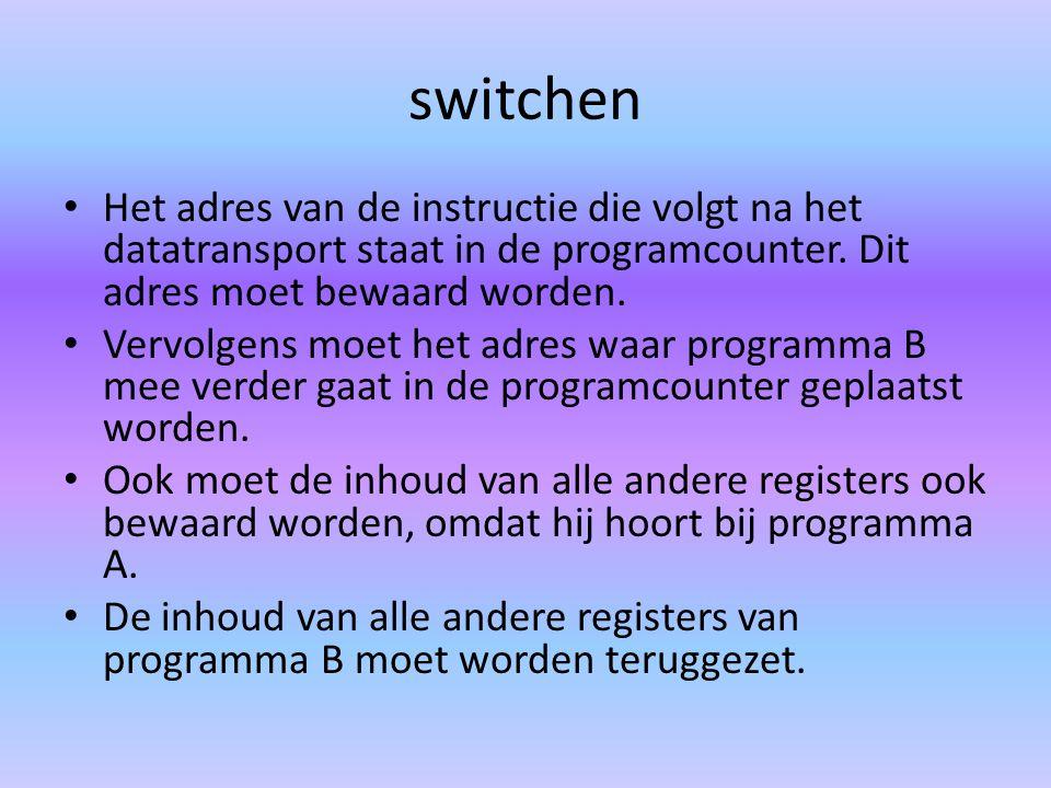 switchen Het adres van de instructie die volgt na het datatransport staat in de programcounter.