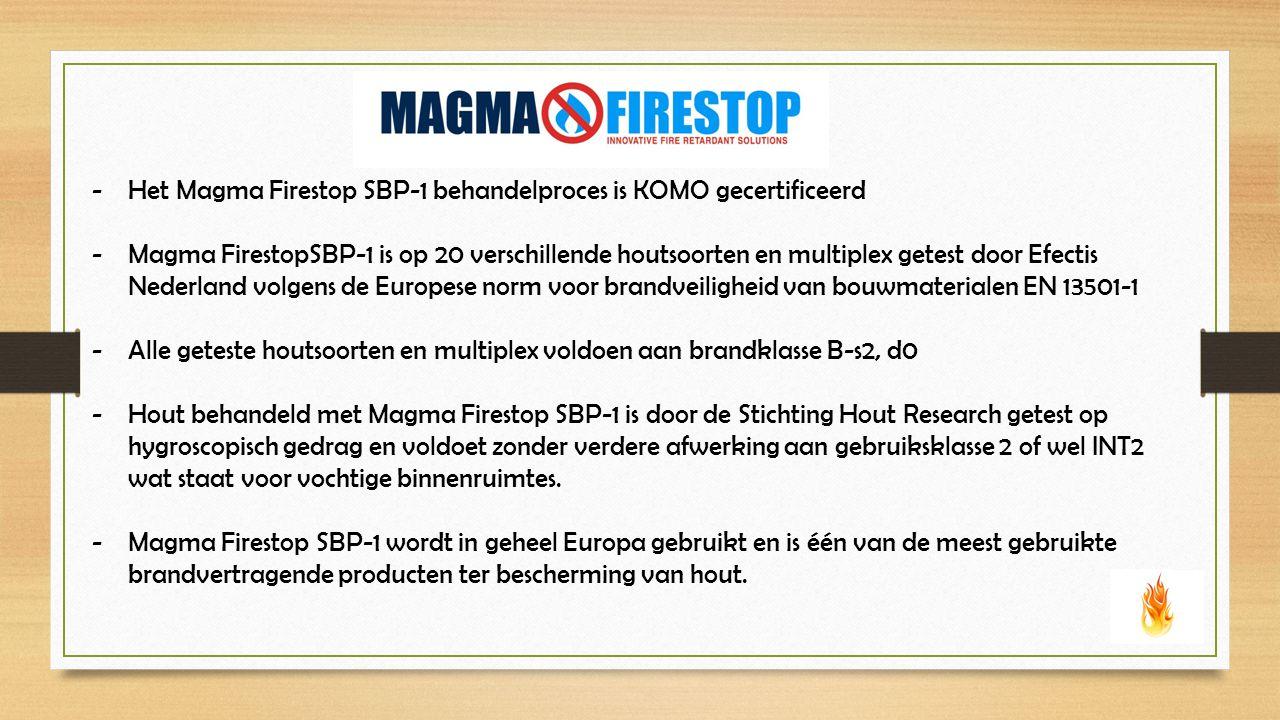 -Het Magma Firestop SBP-1 behandelproces is KOMO gecertificeerd -Magma FirestopSBP-1 is op 20 verschillende houtsoorten en multiplex getest door Efectis Nederland volgens de Europese norm voor brandveiligheid van bouwmaterialen EN 13501-1 -Alle geteste houtsoorten en multiplex voldoen aan brandklasse B-s2, d0 -Hout behandeld met Magma Firestop SBP-1 is door de Stichting Hout Research getest op hygroscopisch gedrag en voldoet zonder verdere afwerking aan gebruiksklasse 2 of wel INT2 wat staat voor vochtige binnenruimtes.