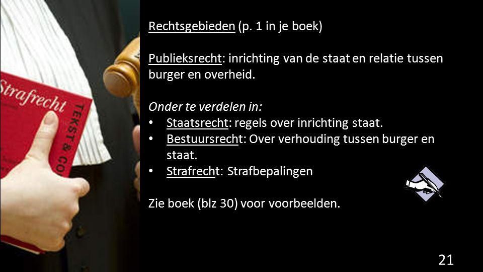 Rechtsgebieden (p. 1 in je boek) Publieksrecht: inrichting van de staat en relatie tussen burger en overheid. Onder te verdelen in: Staatsrecht: regel