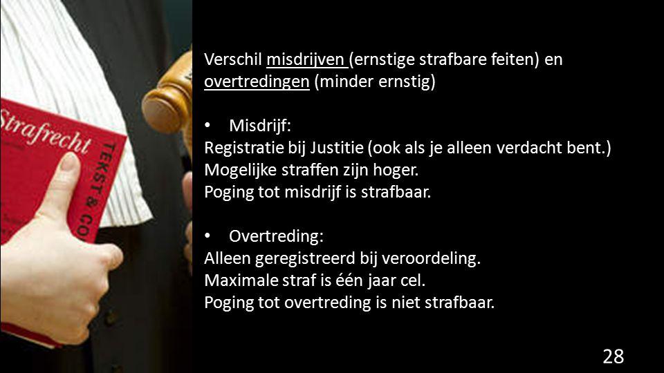 Verschil misdrijven (ernstige strafbare feiten) en overtredingen (minder ernstig) Misdrijf: Registratie bij Justitie (ook als je alleen verdacht bent.