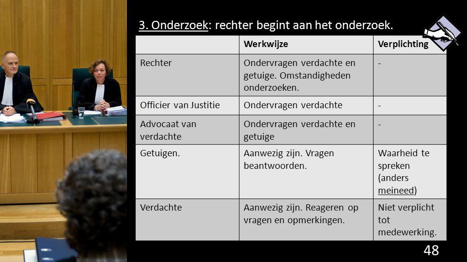 3. Onderzoek: rechter begint aan het onderzoek. 48 de grondwet. WerkwijzeVerplichting RechterOndervragen verdachte en getuige. Omstandigheden onderzoe