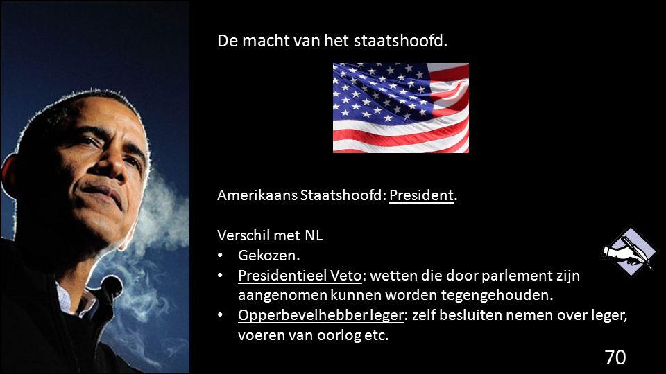 De macht van het staatshoofd. 70 de grondwet. Amerikaans Staatshoofd: President. Verschil met NL Gekozen. Presidentieel Veto: wetten die door parlemen