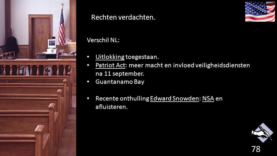 Rechten verdachten. 78 de grondwet. Verschil NL: Uitlokking toegestaan. Patriot Act: meer macht en invloed veiligheidsdiensten na 11 september. Guanta