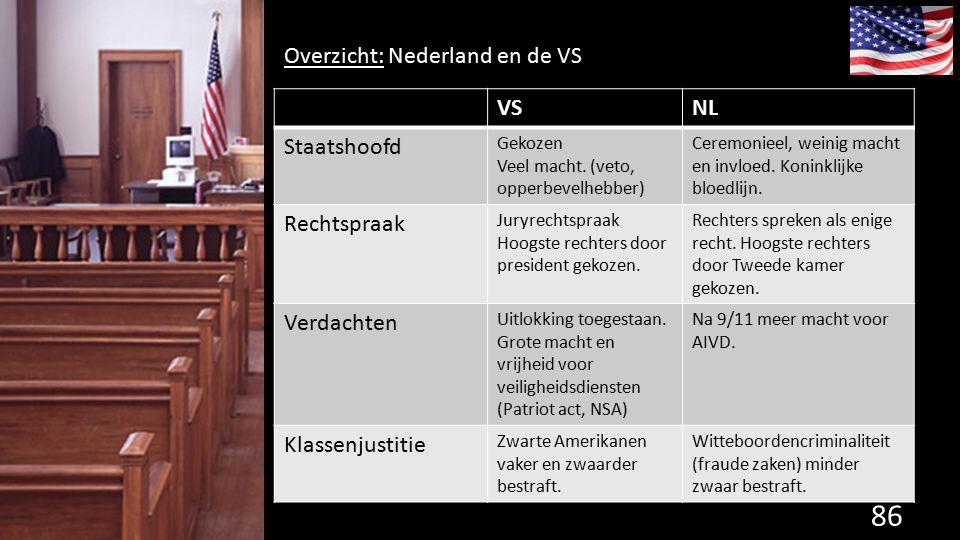 86 de grondwet. Overzicht: Nederland en de VS VSNL Staatshoofd Gekozen Veel macht. (veto, opperbevelhebber) Ceremonieel, weinig macht en invloed. Koni
