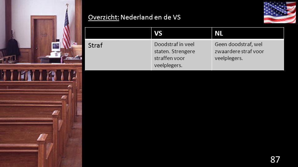 87 de grondwet. Overzicht: Nederland en de VS VSNL Straf Doodstraf in veel staten. Strengere straffen voor veelplegers. Geen doodstraf, wel zwaardere