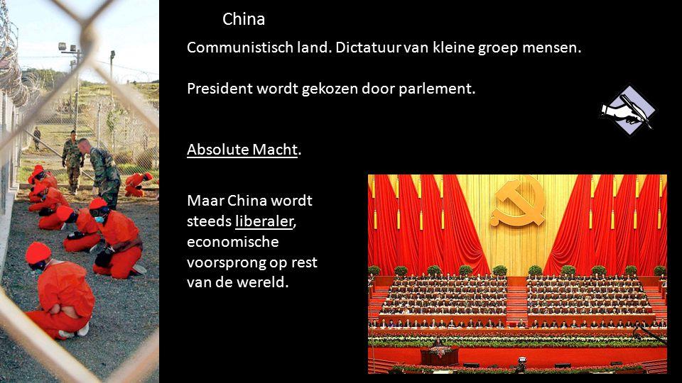 China 88 de grondwet. Communistisch land. Dictatuur van kleine groep mensen. President wordt gekozen door parlement. Absolute Macht. Maar China wordt