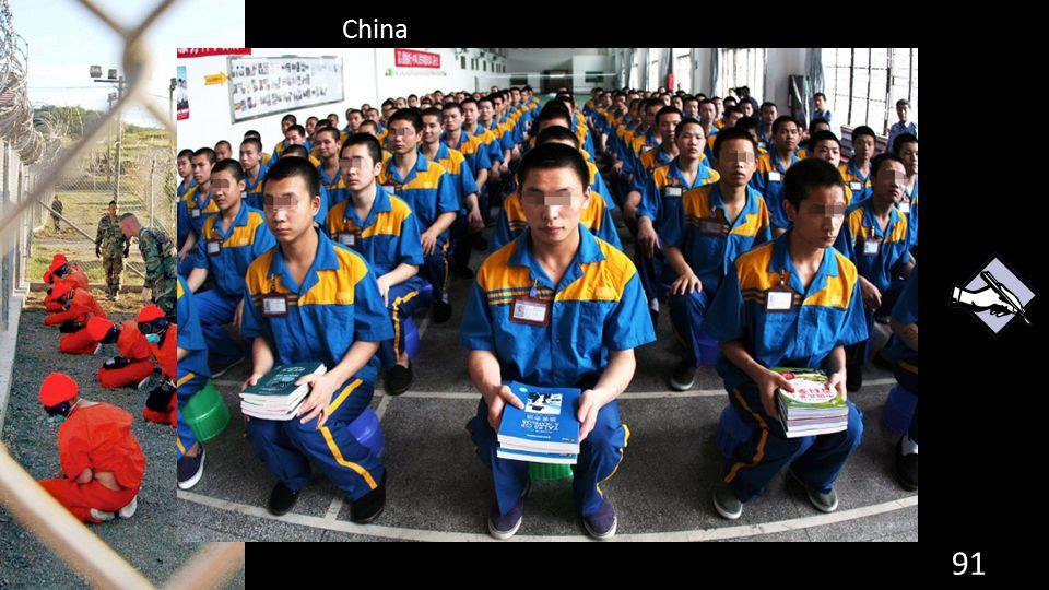 China 91 de grondwet. Straf: heropvoedingskampen. Maar ook dwangarbeid en doodstraf.