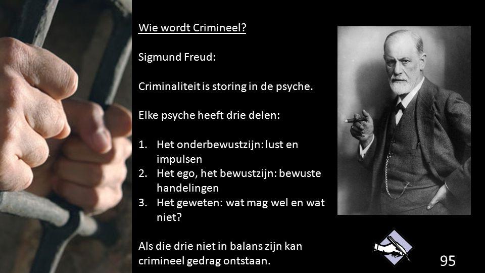 95 de grondwet. Wie wordt Crimineel? Sigmund Freud: Criminaliteit is storing in de psyche. Elke psyche heeft drie delen: 1.Het onderbewustzijn: lust e