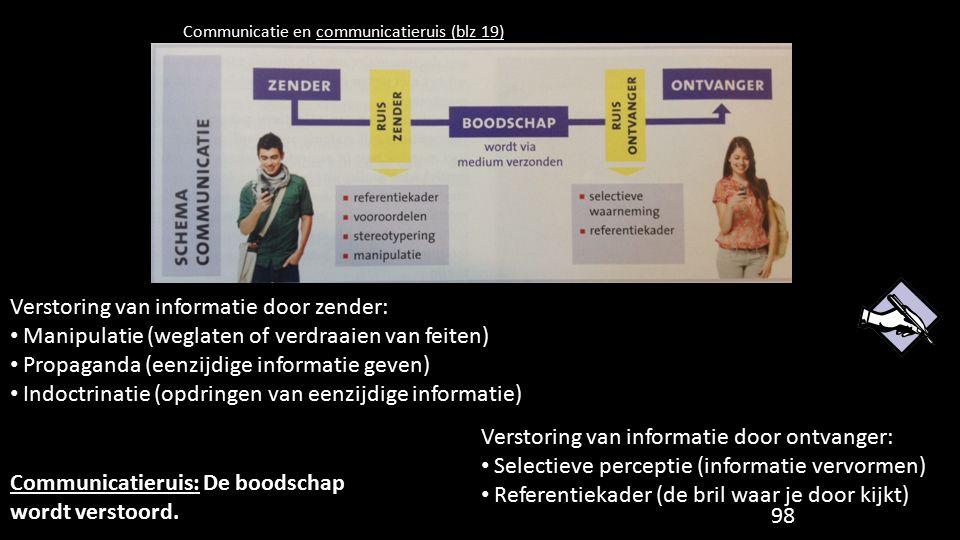 Communicatie en communicatieruis (blz 19) Verstoring van informatie door zender: Manipulatie (weglaten of verdraaien van feiten) Propaganda (eenzijdig