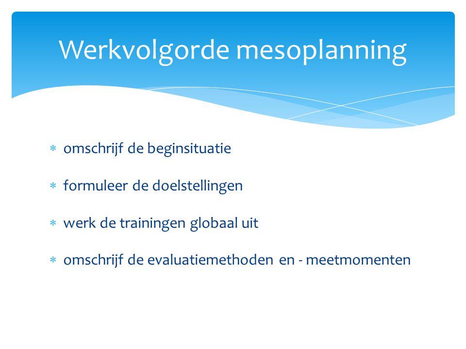  omschrijf de beginsituatie  formuleer de doelstellingen  werk de trainingen globaal uit  omschrijf de evaluatiemethoden en - meetmomenten Werkvol