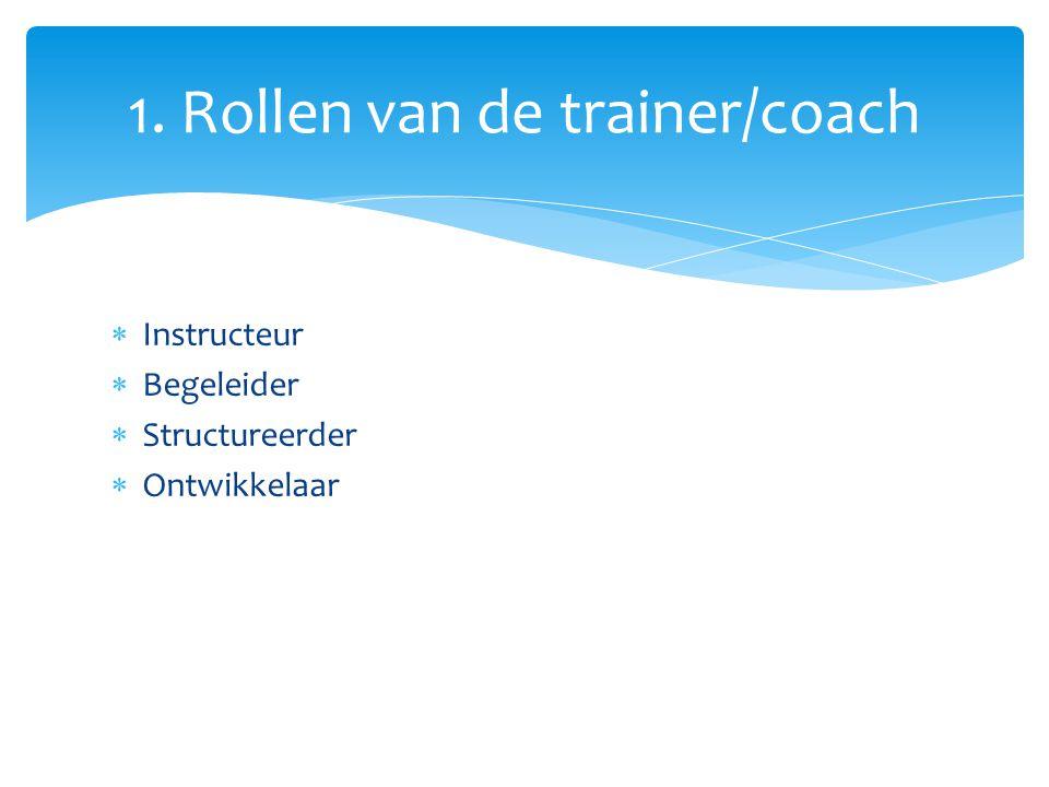  Instructeur  Begeleider  Structureerder  Ontwikkelaar 1. Rollen van de trainer/coach