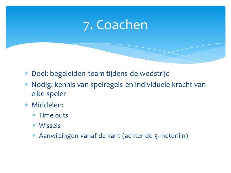  Doel: begeleiden team tijdens de wedstrijd  Nodig: kennis van spelregels en individuele kracht van elke speler  Middelen:  Time-outs  Wissels 