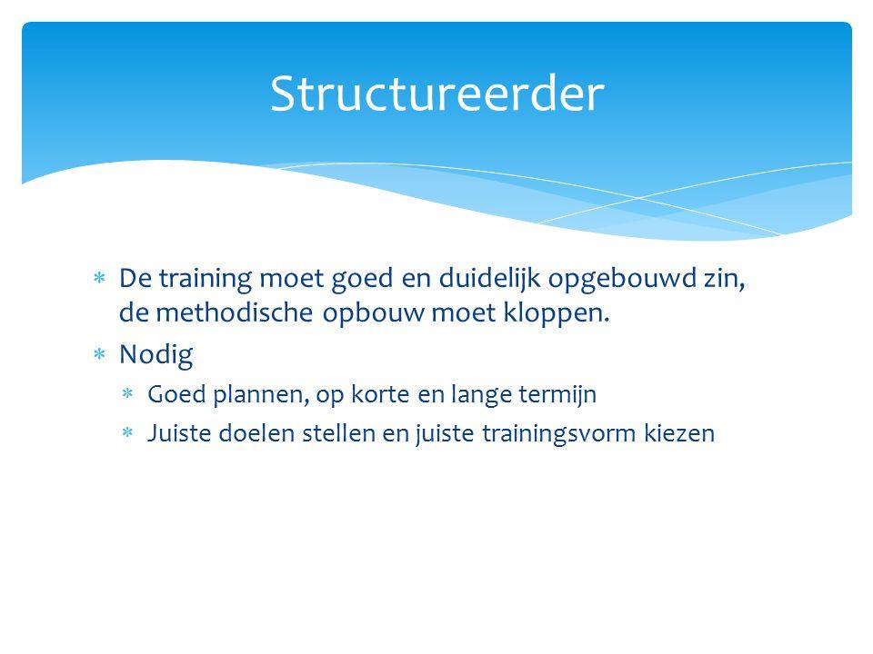  De training moet goed en duidelijk opgebouwd zin, de methodische opbouw moet kloppen.  Nodig  Goed plannen, op korte en lange termijn  Juiste doe