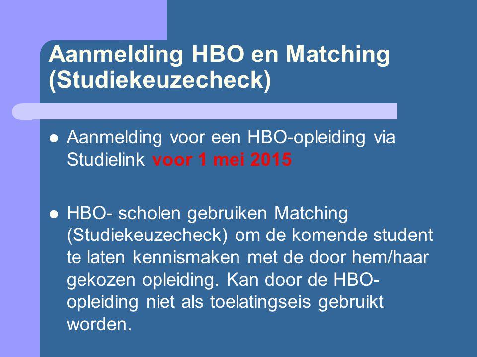 Aanmelding HBO en Matching (Studiekeuzecheck) Aanmelding voor een HBO-opleiding via Studielink voor 1 mei 2015 HBO- scholen gebruiken Matching (Studiekeuzecheck) om de komende student te laten kennismaken met de door hem/haar gekozen opleiding.