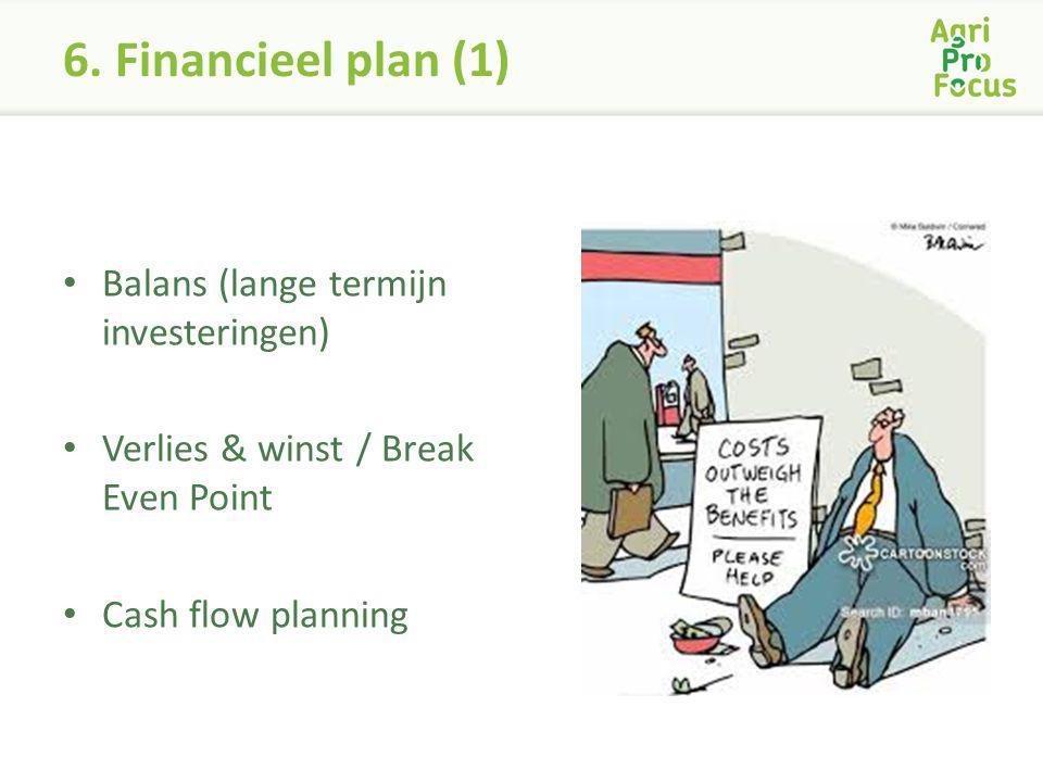 6. Financieel plan (1) Balans (lange termijn investeringen) Verlies & winst / Break Even Point Cash flow planning